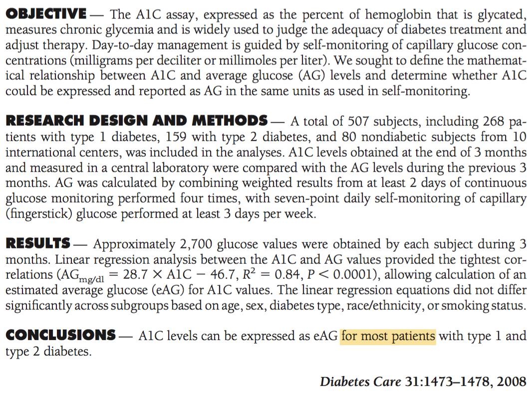 Diabetes Care - A1C equation