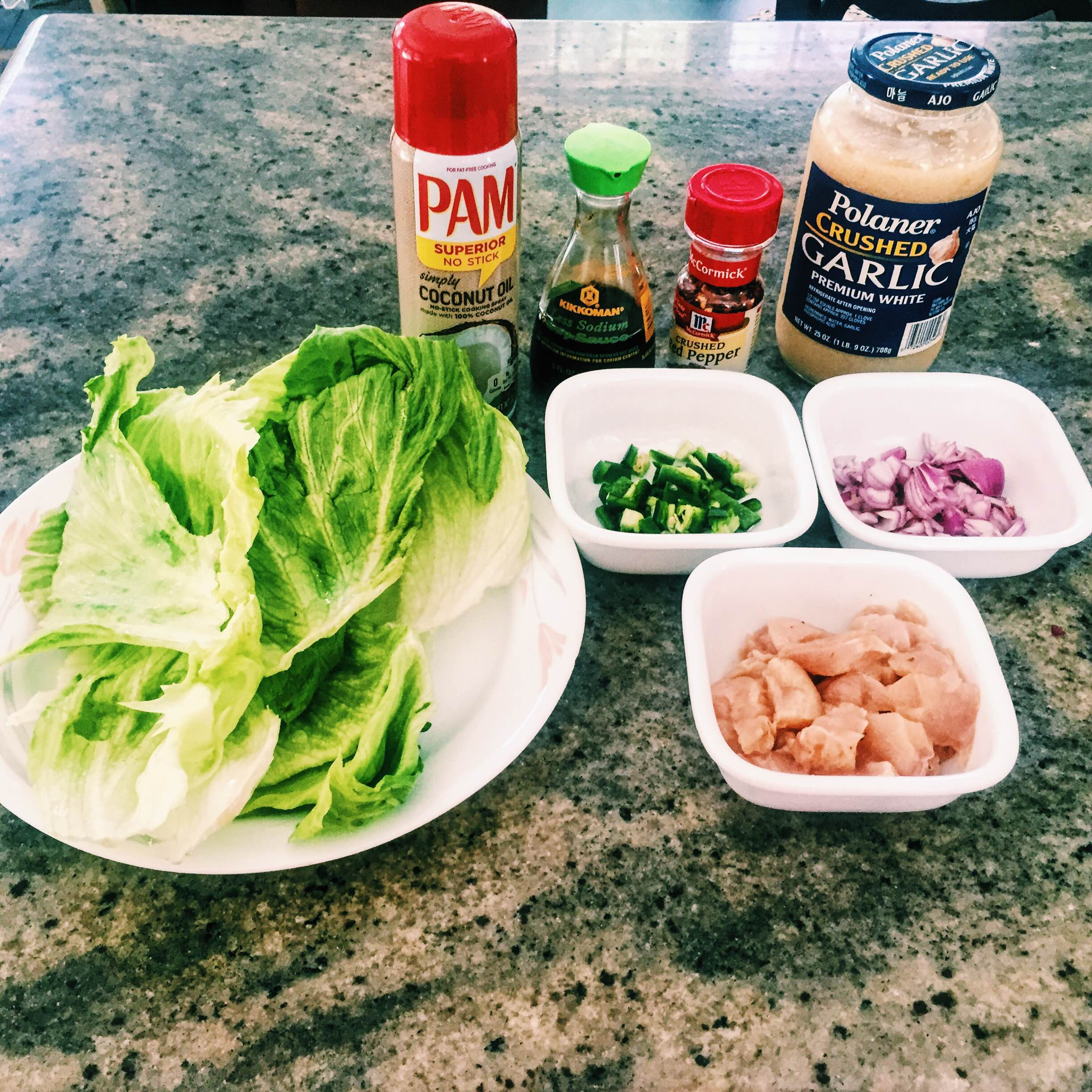 Low Carb Thai Chicken Wrap Raw Ingredients