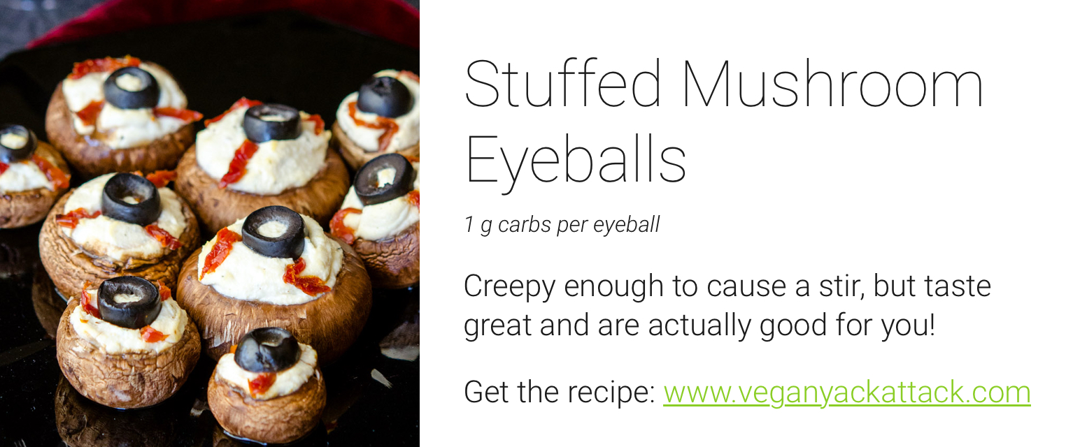 low carb halloween - stuffed mushroom recipe - eyeball recipe halloween - low carb recipes halloween - low carb diabetic recipes for halloween - diabetic halloween recipes