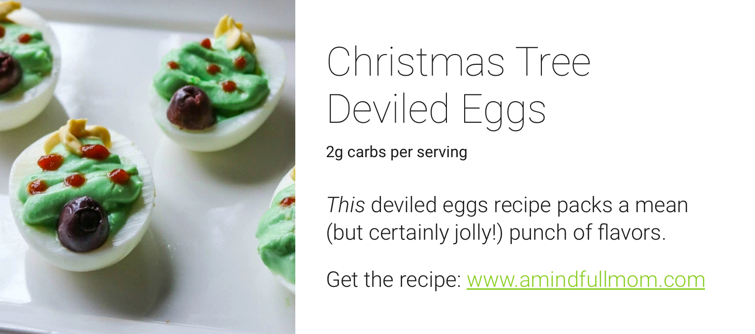 one drop holiday recipes - christmas tree deviled eggs